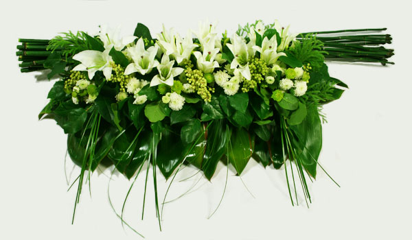 Modern Casket Flower in Green and White