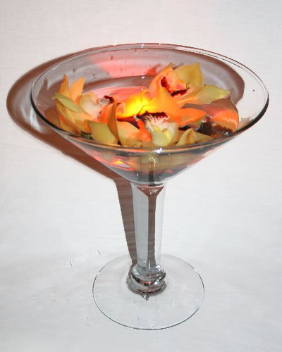 Lighted Cocktail Flower Arrangement