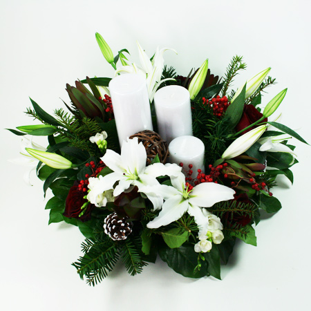 Red Pine Holiday Centerpiece with Candles