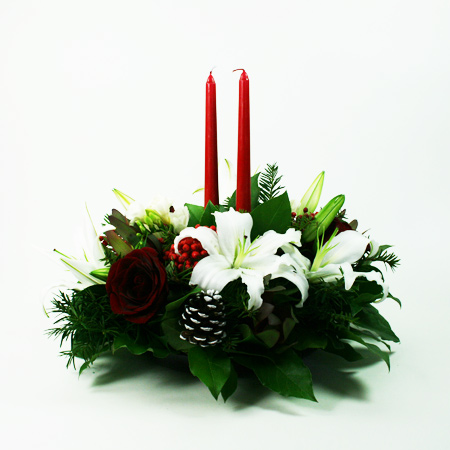 Holiday Centerpiece with Taper Candles