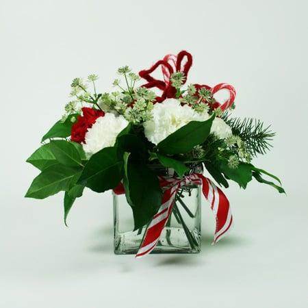 Candy Cane Christmas Flower Arrangement