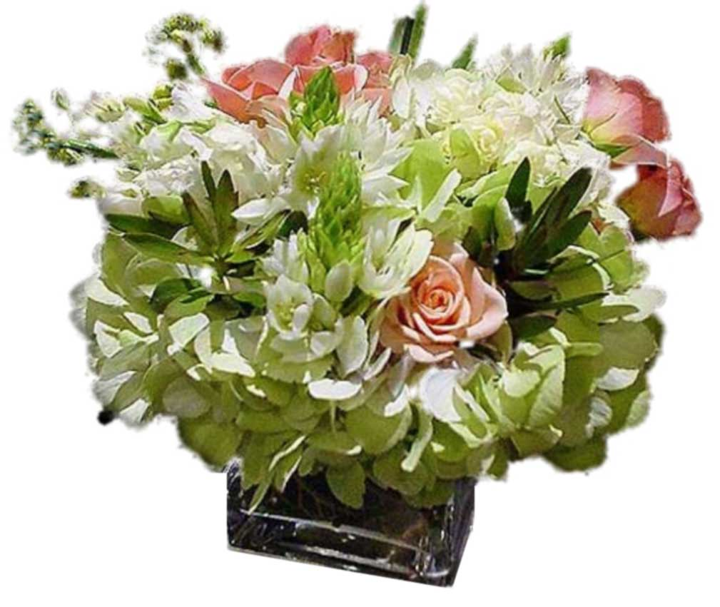 Celadon and Salmon Flower Arrangement
