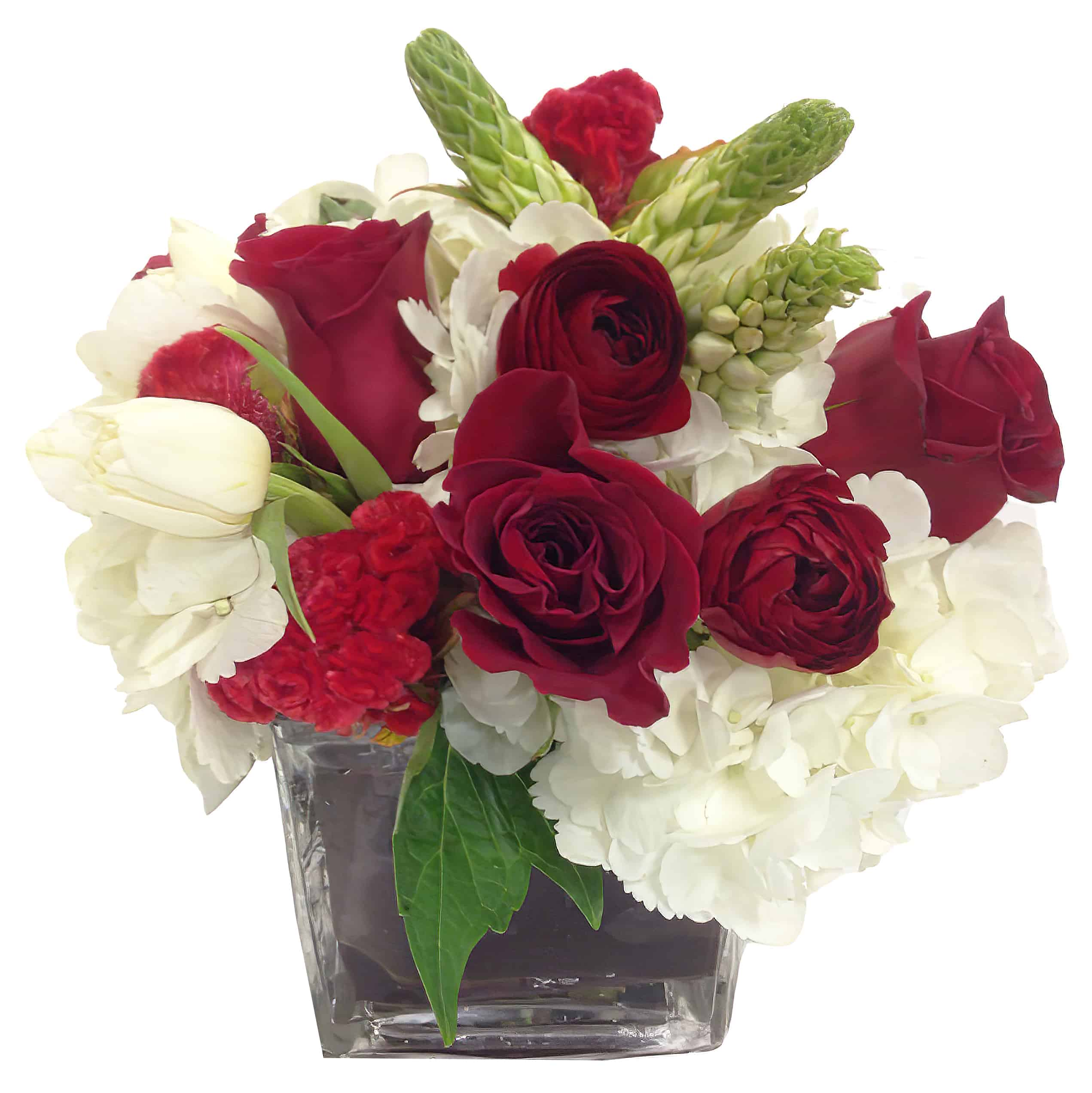 Garnet and Ivory Flower Arrangement