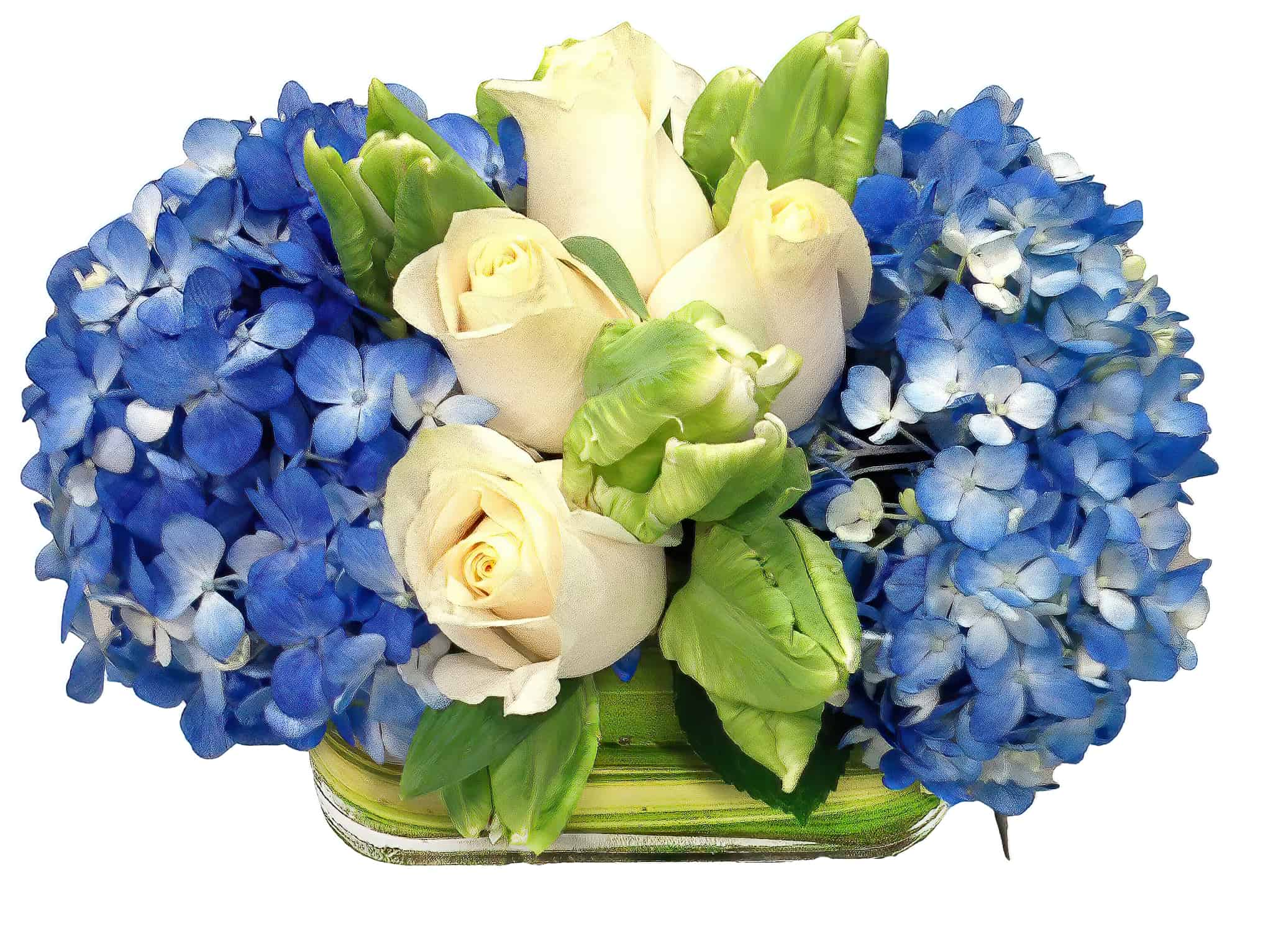 Blue Stripes Flower Arrangement