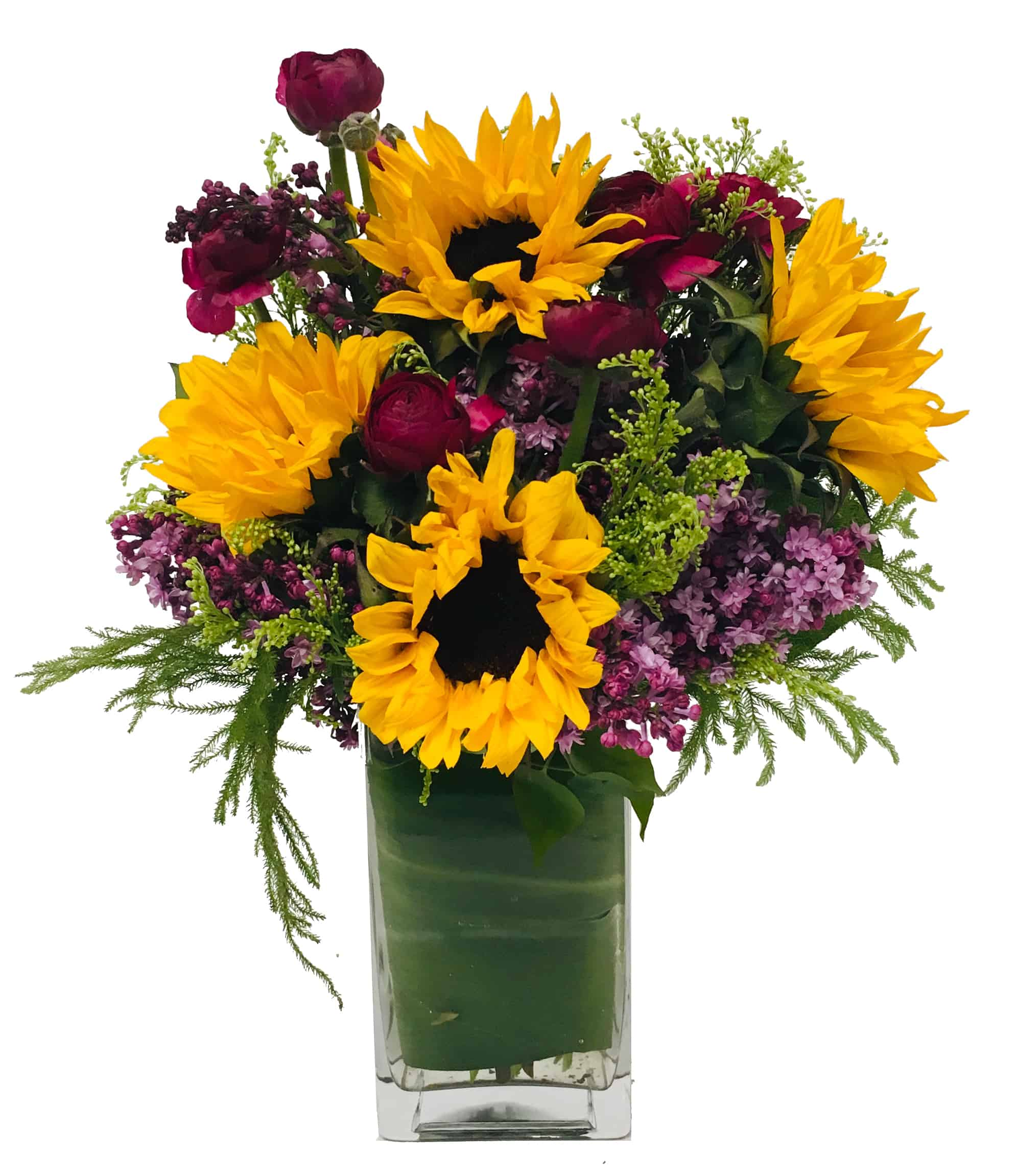 Lilac and Sunflowers Arrangement