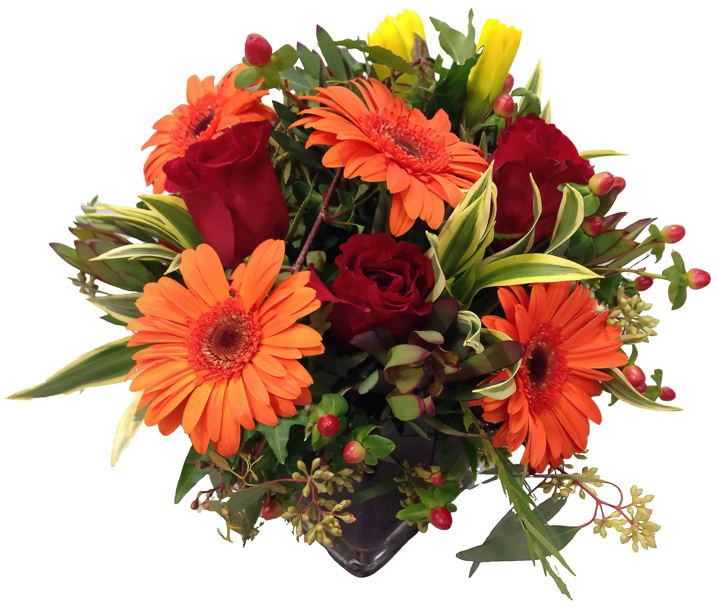 Orange Gerbera Daisy Mix Flower Arrangement