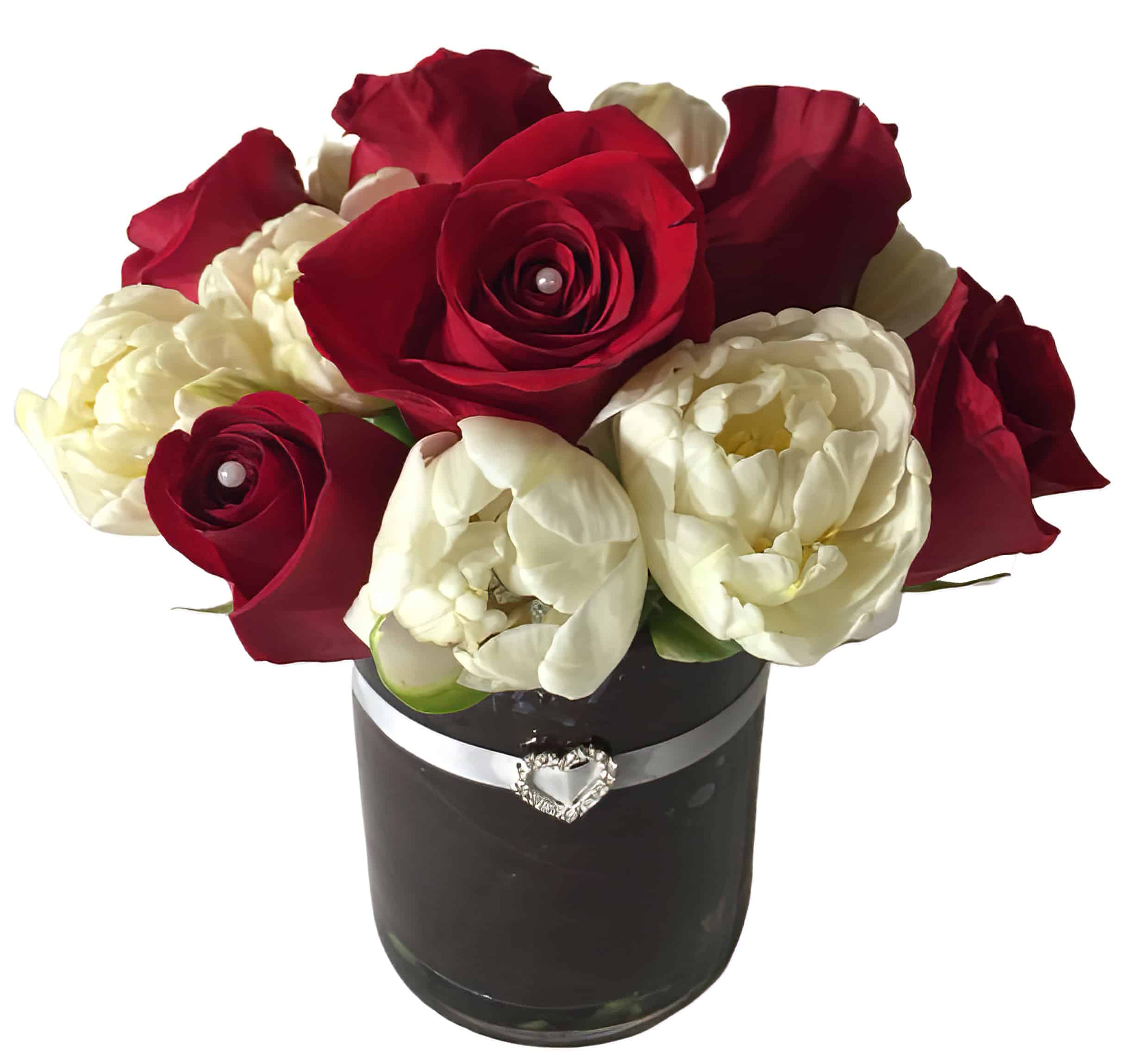 Red Heart Flower Arrangement