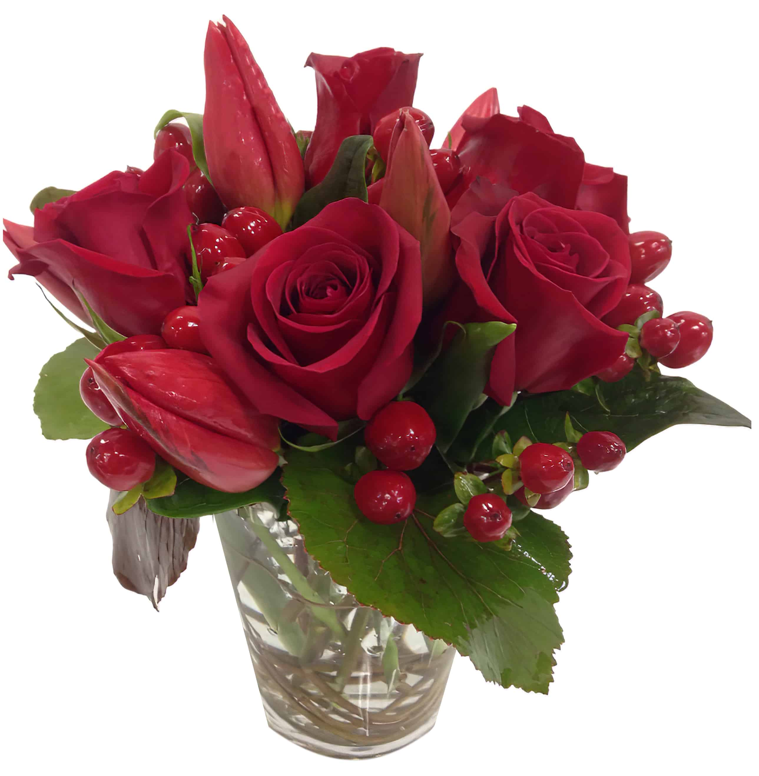 Ruby Red Trio Floral Arrangement