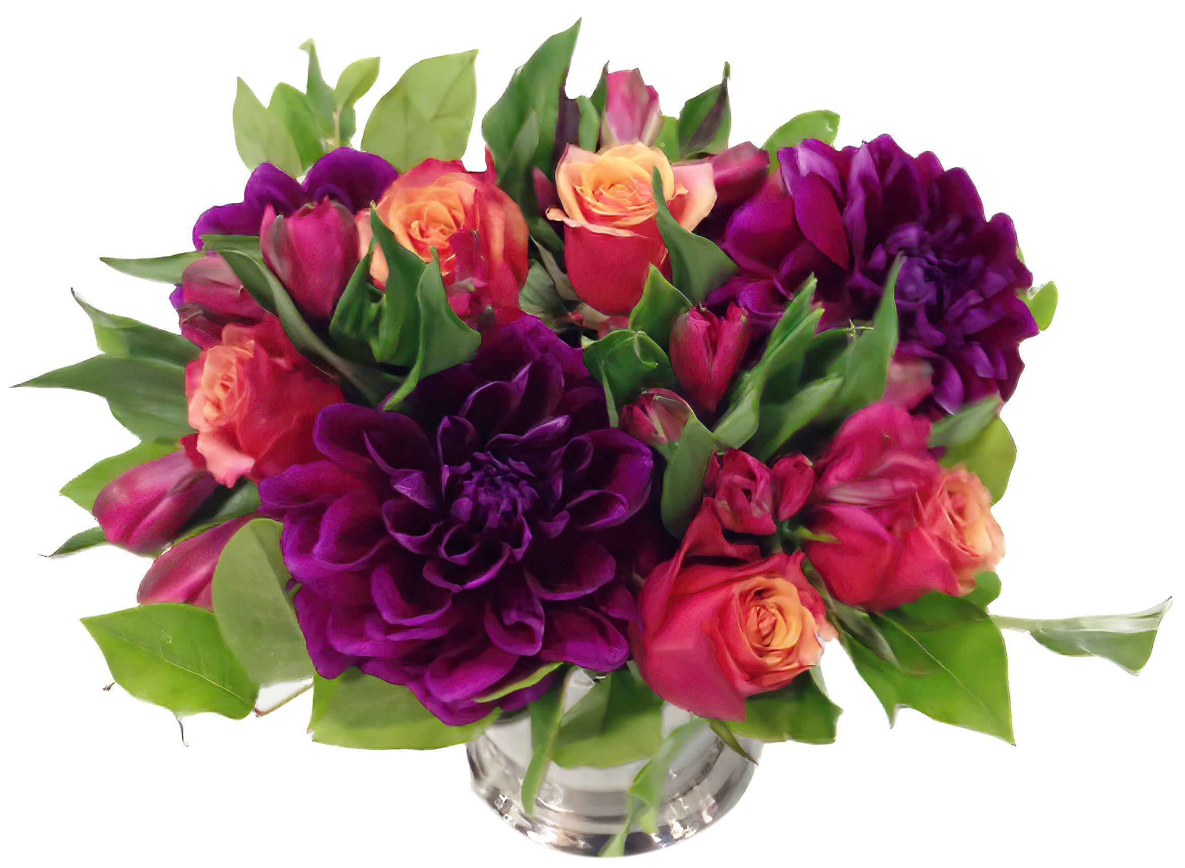 Dahlias & Silver Floral Arrangement