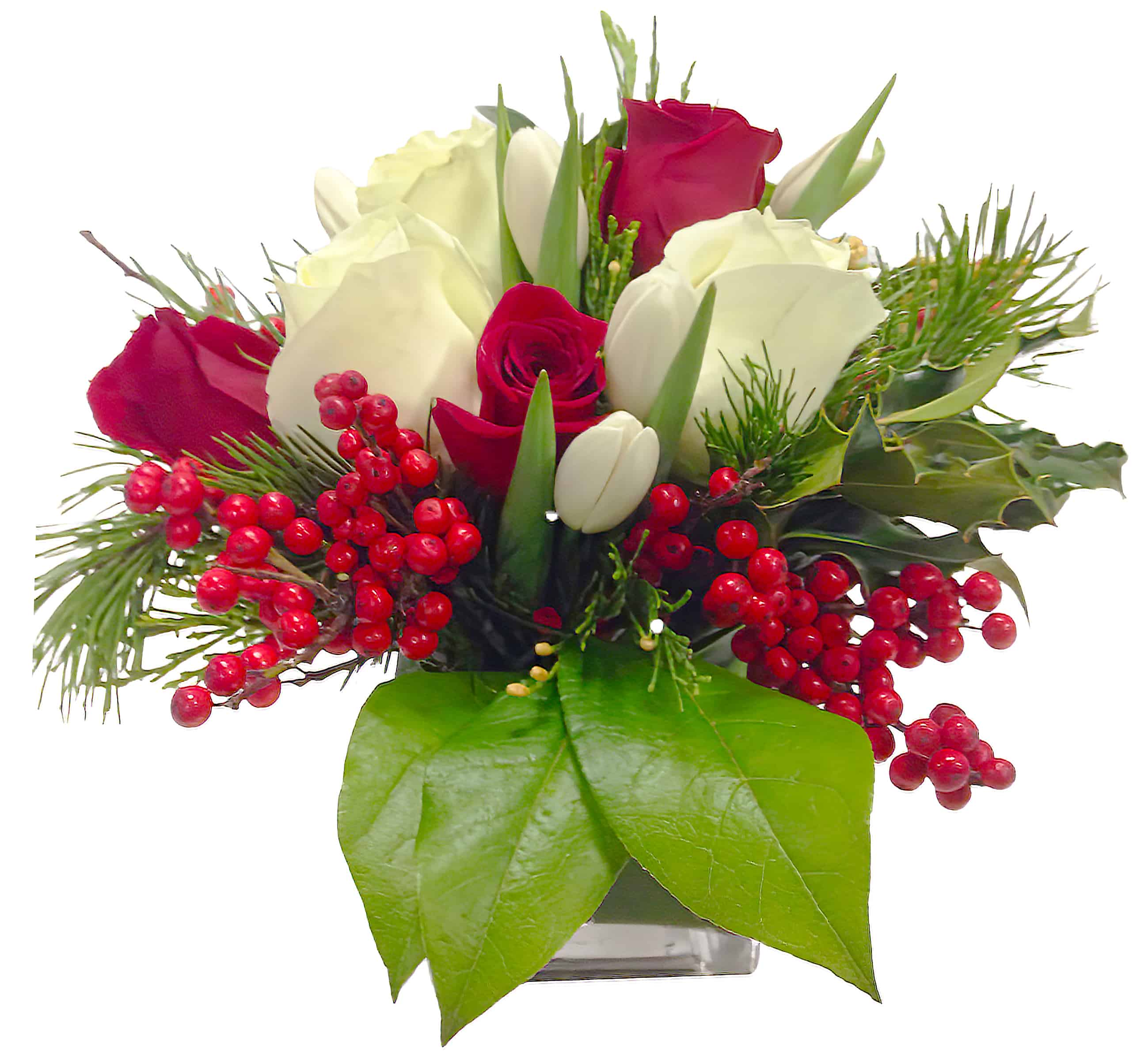 Seasonal Reds and Whites Flower Arrangement
