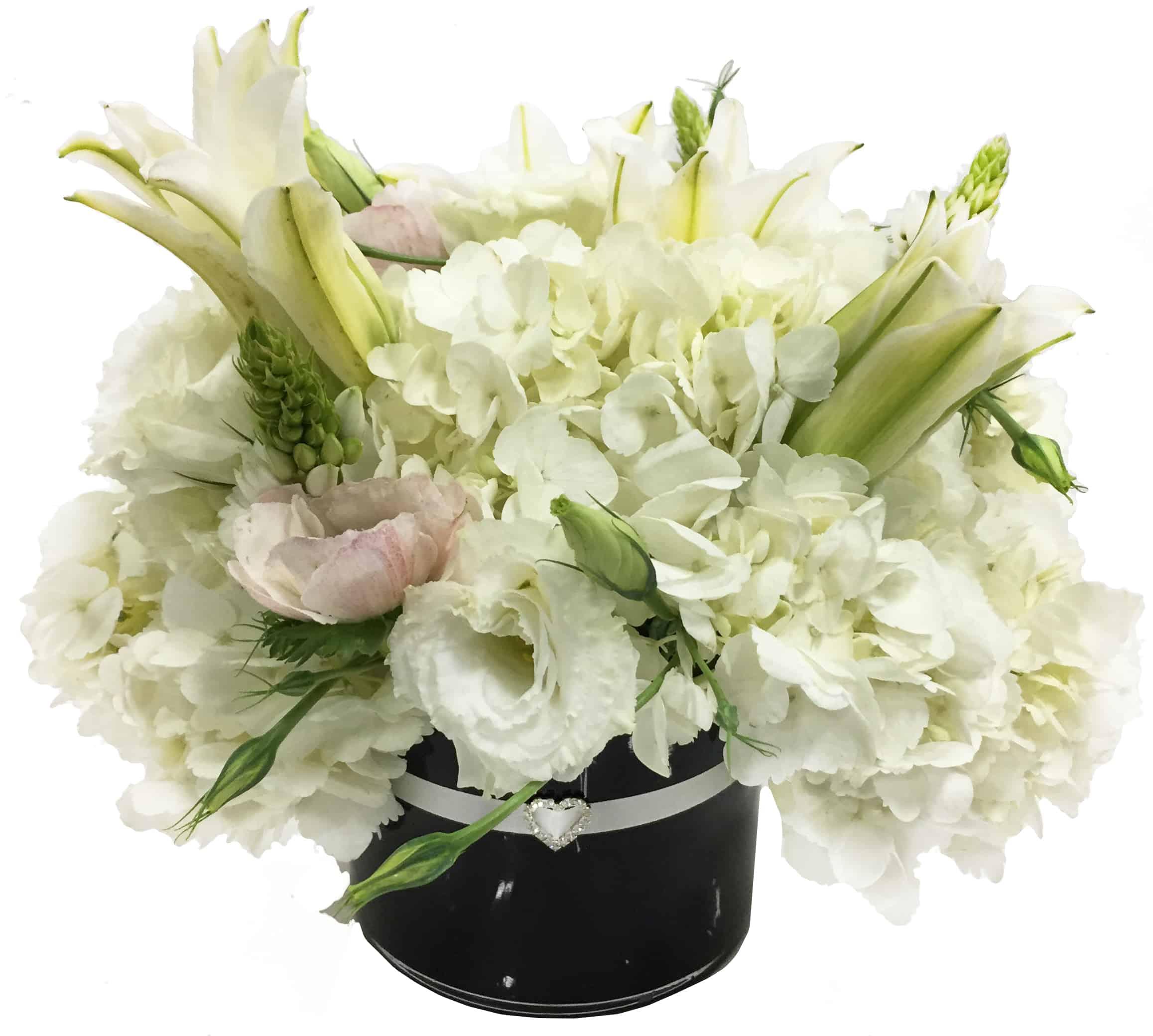 White Heart Flower Arrangement