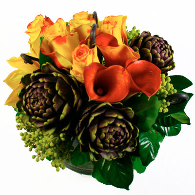 Orange Ribbon Burst Flower Arrangement