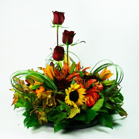 Large Autumn Centerpiece 3 Flower Arrangement 142 San