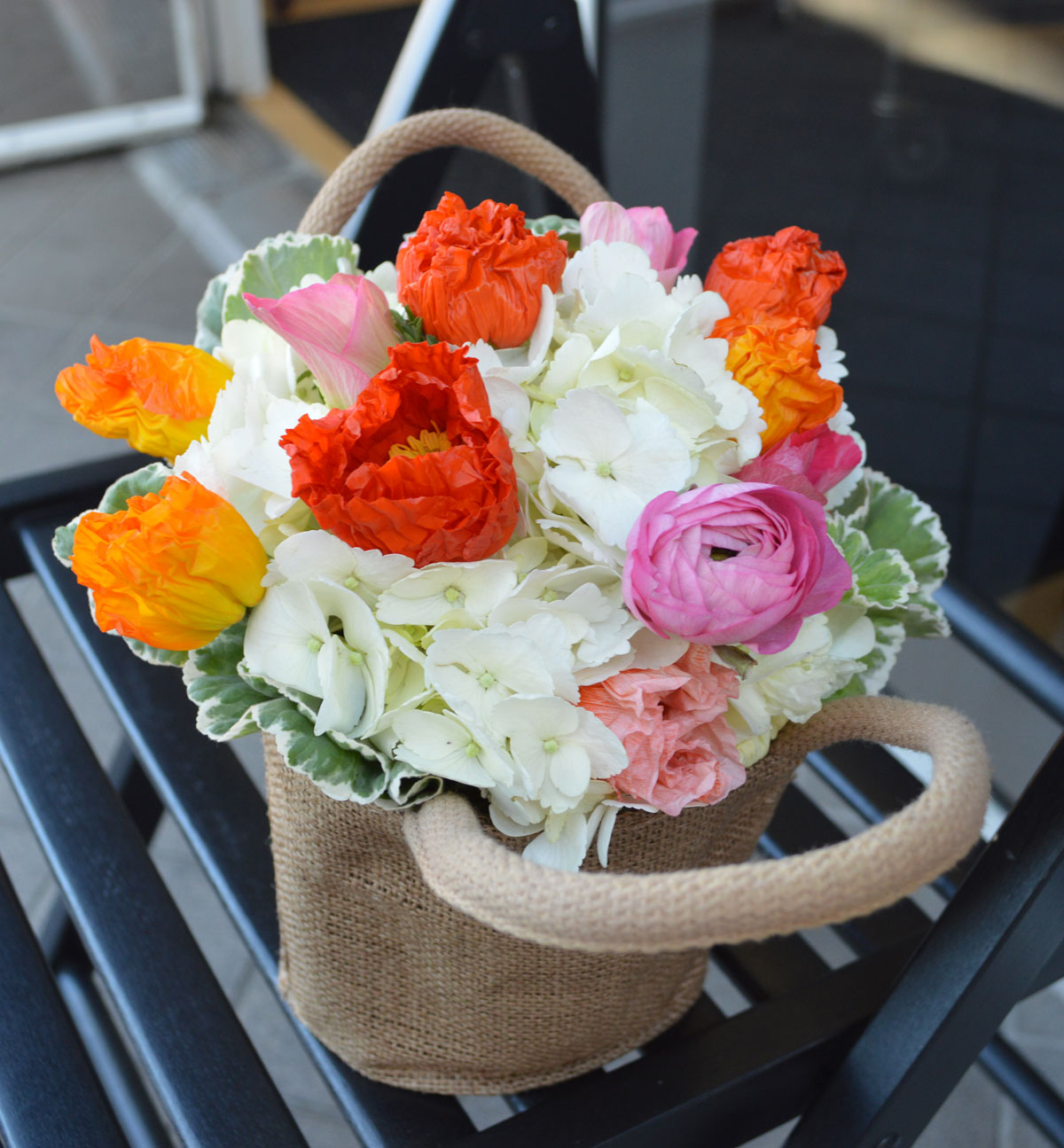 Basket of Poppies Flower Arrangement $43 San Francisco Florist