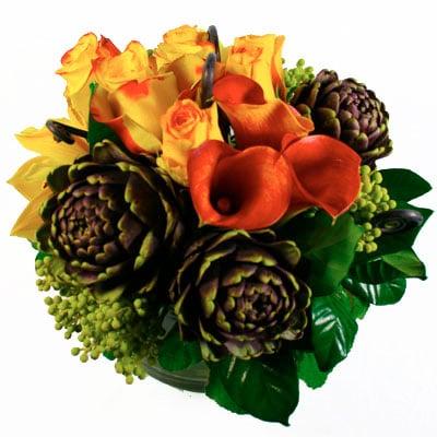 Orange Ribbon Burst Flower Arrangement