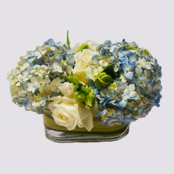 Blue Stripes Flower Arrangement