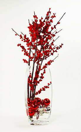 Red and Silver Flower Arrangement