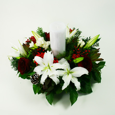 Holiday Centerpiece with Candle