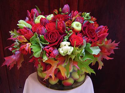 Garnet and Celadon Flower Arrangement
