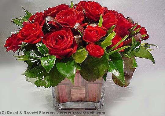 Woven Basket of Roses Flower Arrangement